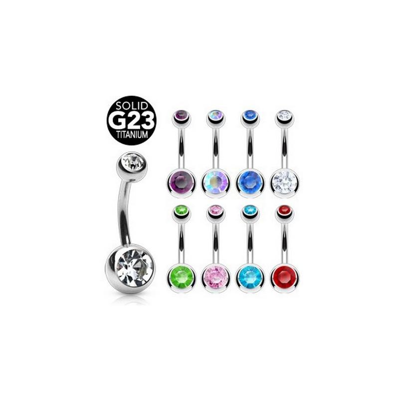 Piercing nombril en Titane G23 haute qualité double cristal de couleur Blanc pas cher