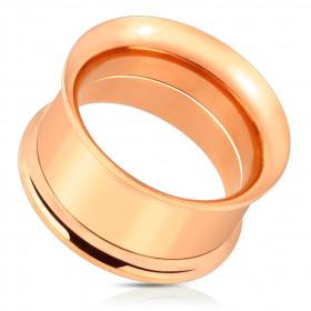 Piercing tunnel oreille en acier vissé couleur or rose