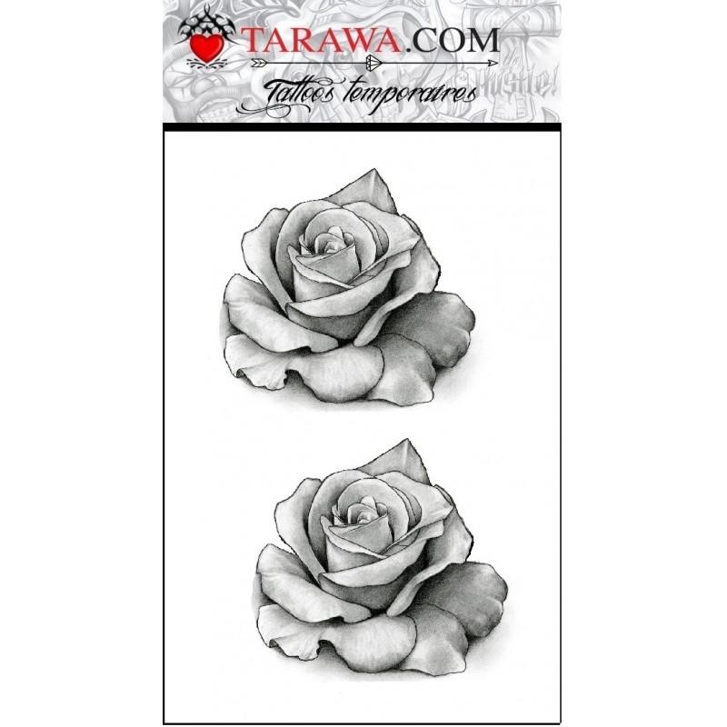 Tatouage Temporaire Rose Noir Et Blanc