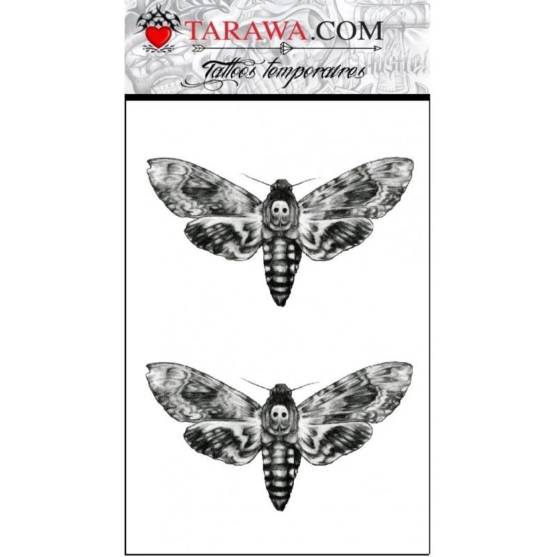 tatouage papillon sphinx tête de mort