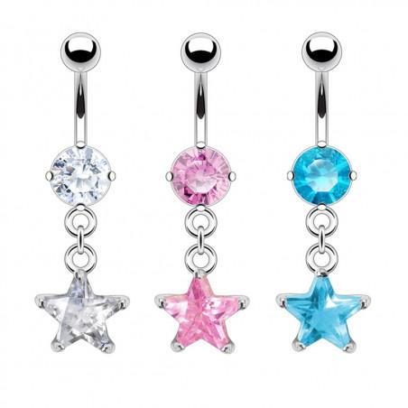 Piercing nombril étoile cristal pendante
