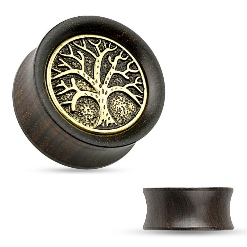 Plug oreille en bois arbre de vie