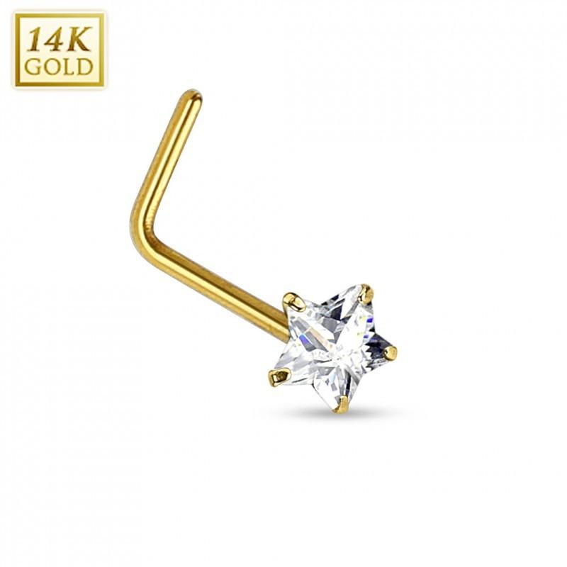 Piercing nez or étoile cristal couleur diamant en L