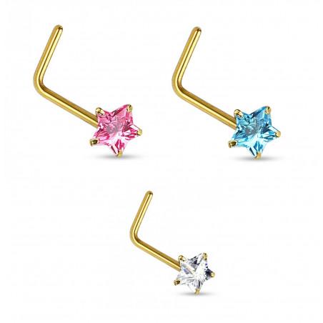 Piercing nez or étoile cristal en L
