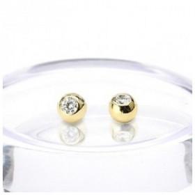 Bille piercing en or cristal 1,6 mm pour nombril et téton
