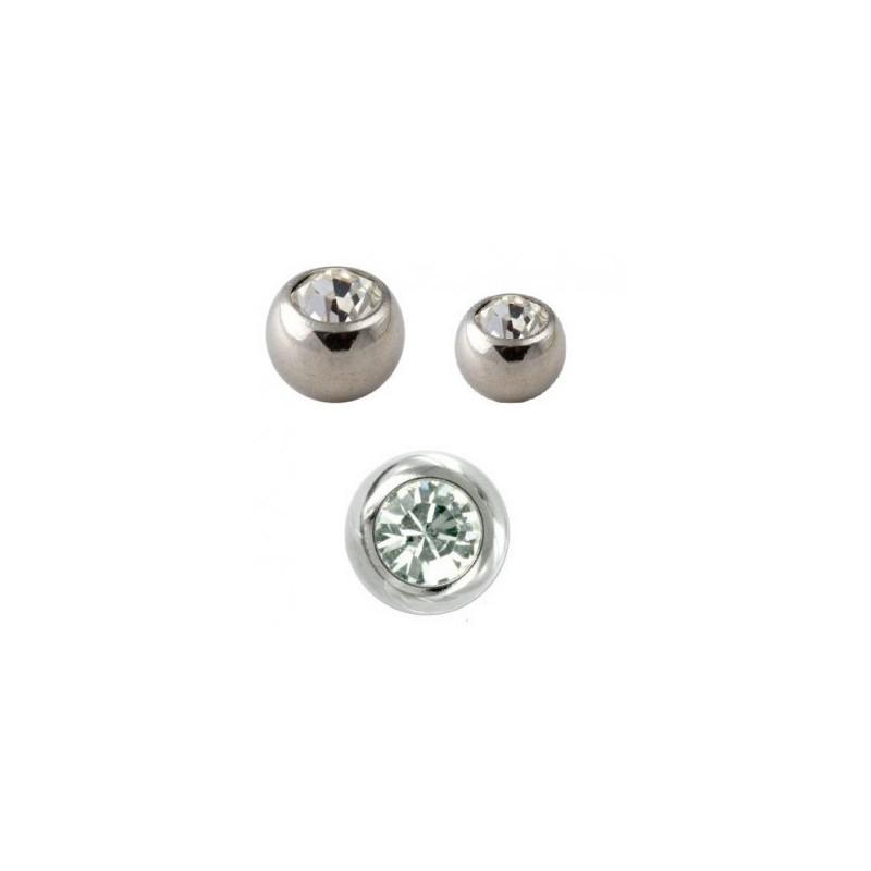 Bille piercing en or blanc cristal 1,6 mm