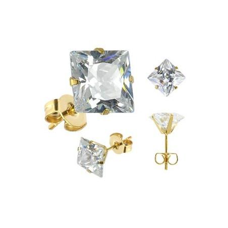 Boucles oreille doré cristal carré