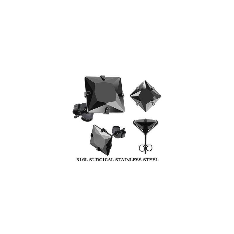 Boucles oreille homme acier noir carré cristal