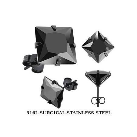 Boucles oreille acier noir carré cristal