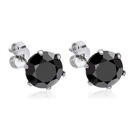 Boucles oreille acier chirurgical cristal noir