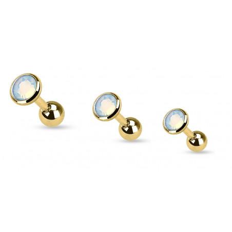 Piercing oreille doré pierre opale