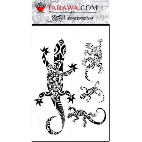 Tatouages temporaires Lezard Gecko Maori Polynesiens