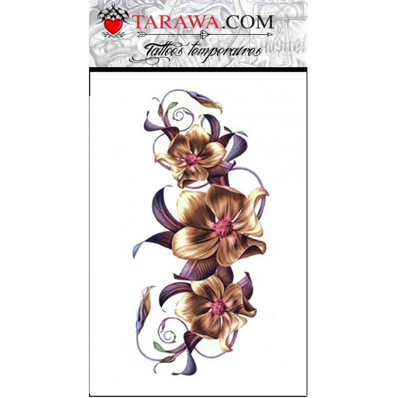 tatouage temporaire motif fleur d 39 orchid e planche de 1 tatouage. Black Bedroom Furniture Sets. Home Design Ideas