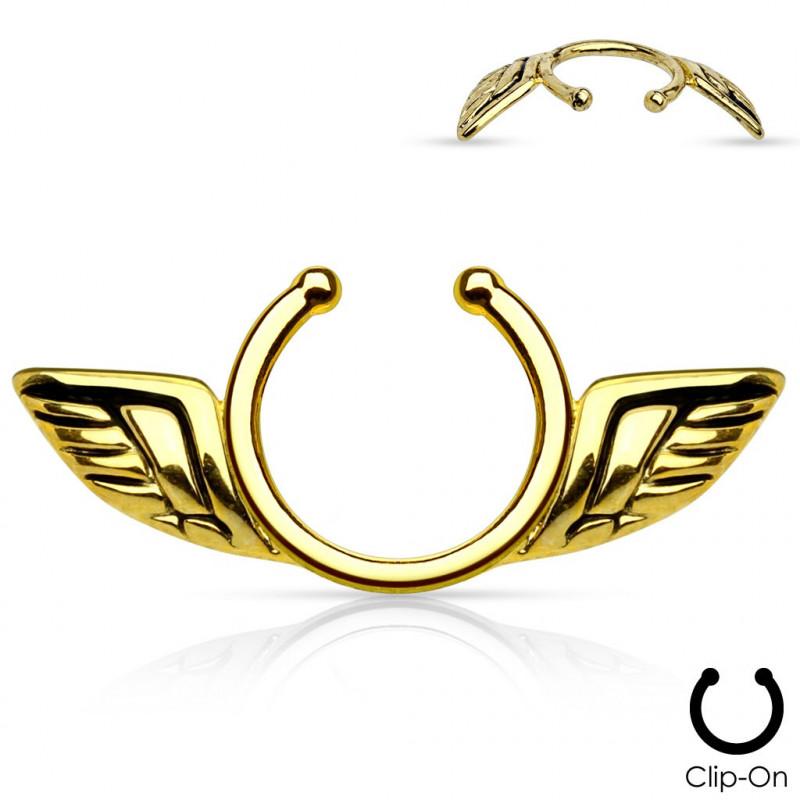 Faux piercing téton ailes d'anges doré