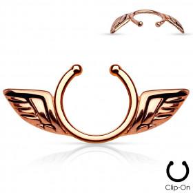 Faux piercing téton ailes d'anges couleur or rose