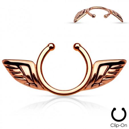 Faux piercing téton ailes d'anges or rose