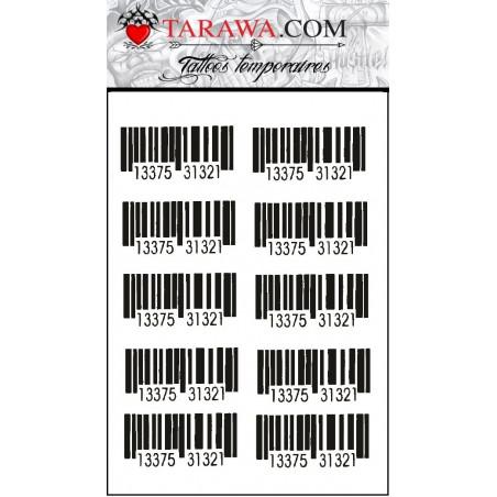 Tatouages temporaires Code barre