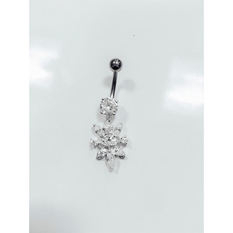 Piercing nombril fleur pendante argent
