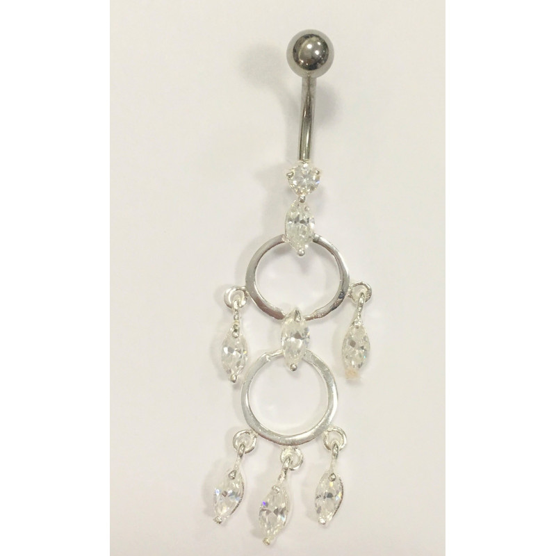 Piercing nombril chandelier argent