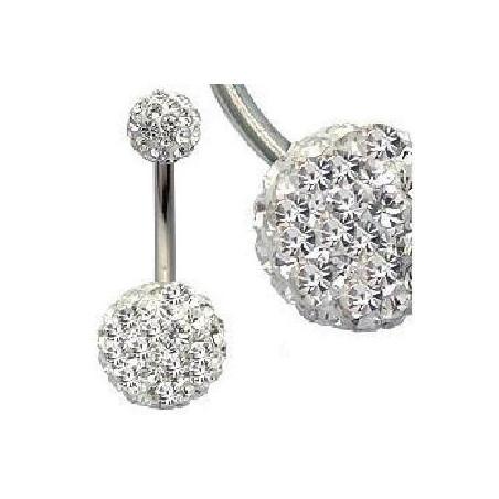 Piercing nombril double Cristal blanc