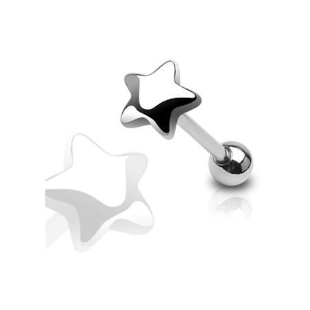 Piercing langue étoile 5mm acier