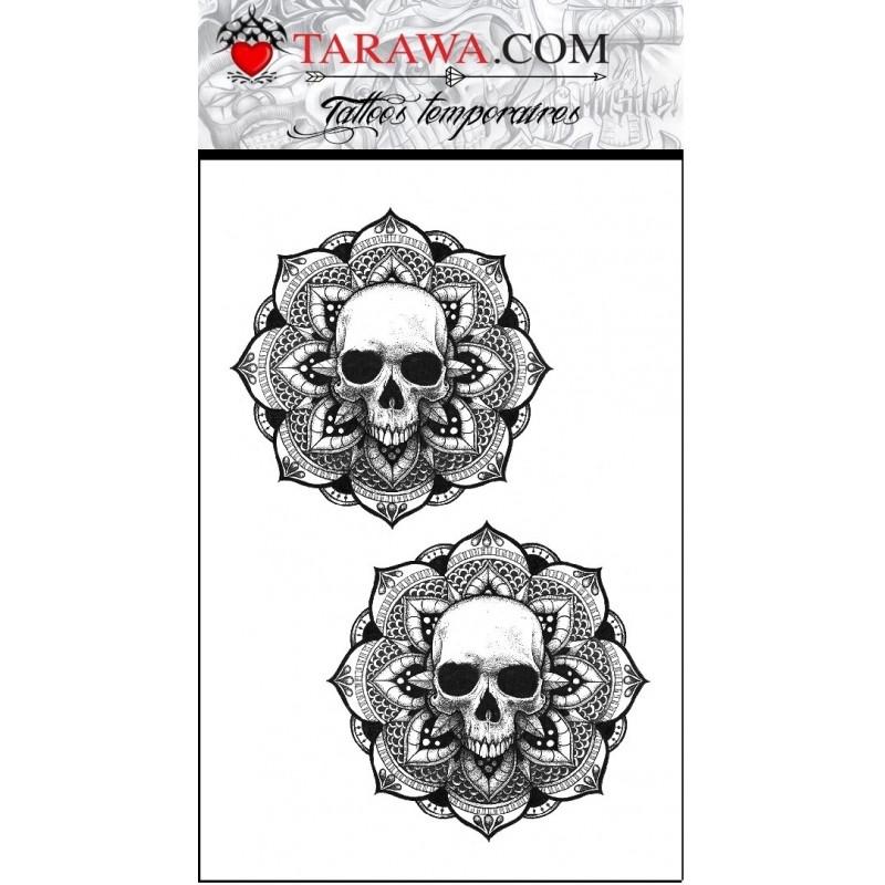 Tatouage éphmère mandalas tête de mort