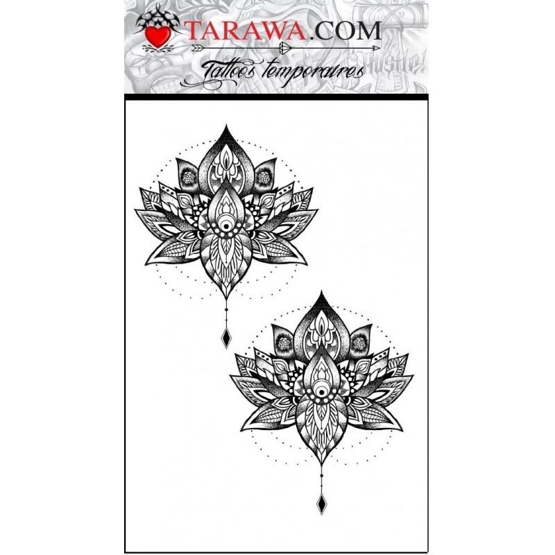Faux tatouage fleur de lotus style mandalas