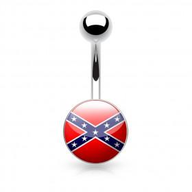 Piercing nombril logo drapeau sudiste