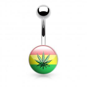 Piercing nombril feuille de cannabis rasta