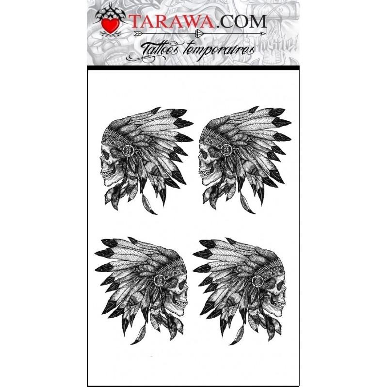 Tatouage Ephemere Tete De Mort Indien Tarawa Piercing