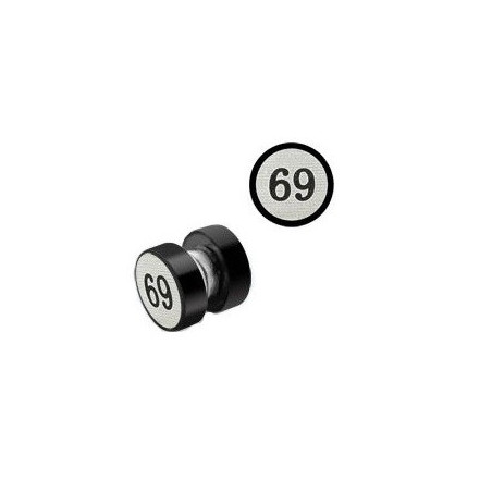 faux plug aimanté acier noir logo 69