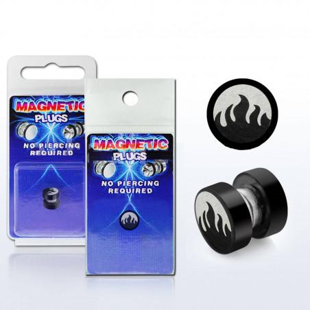 écarteur magnétique flamme acier noir