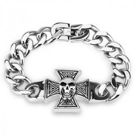 Bracelet tête de mort croix de Malt