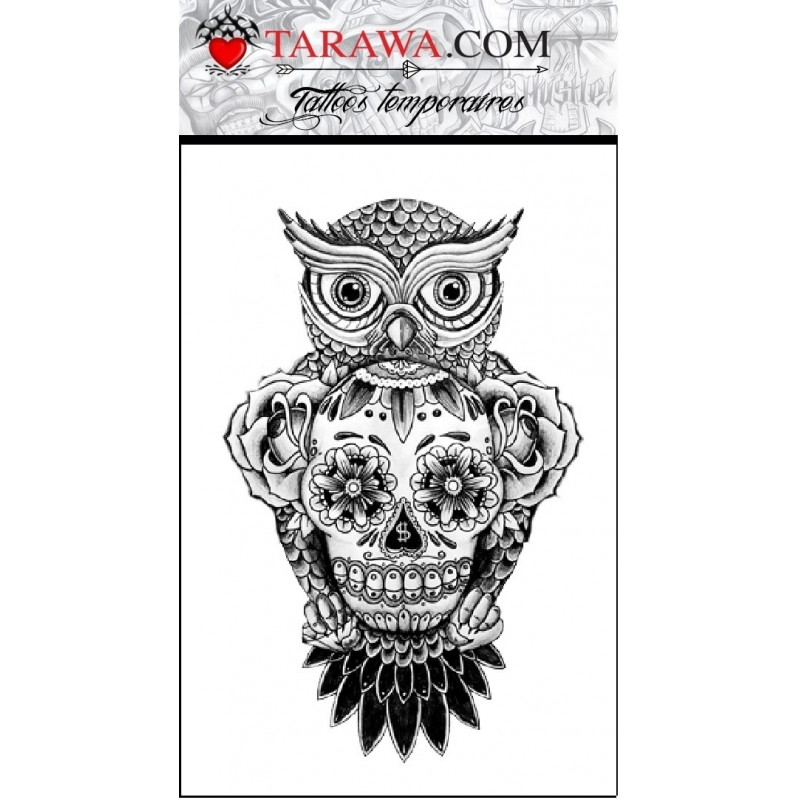 tatouge hibou et t te de mort tarawa piercing. Black Bedroom Furniture Sets. Home Design Ideas