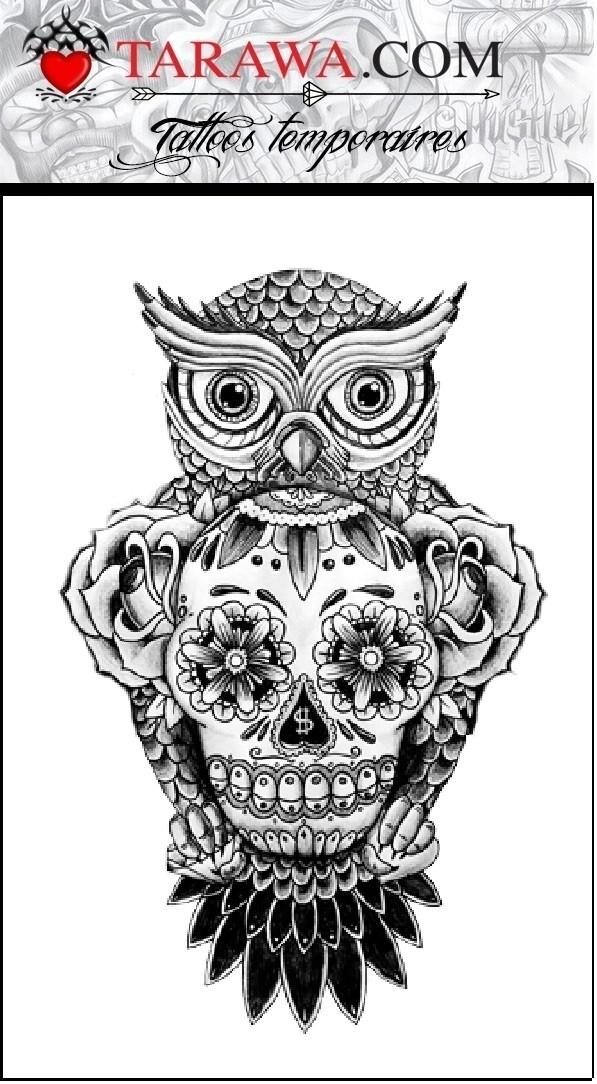 image tatouage chouette avec tete de mort tatouage. Black Bedroom Furniture Sets. Home Design Ideas
