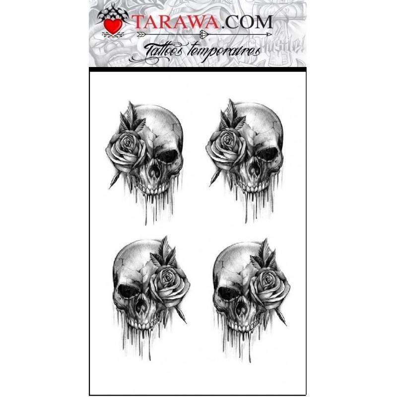 Tatouage éphémère tête de mort et rose