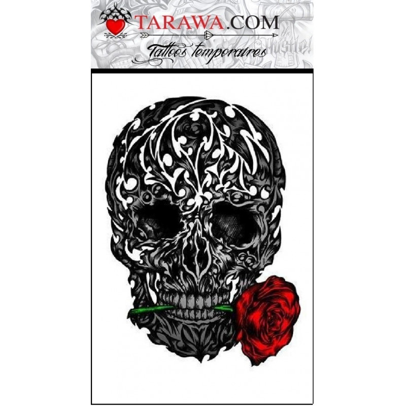 tatouage temporaire t te de mort tribal tarawa piercing. Black Bedroom Furniture Sets. Home Design Ideas