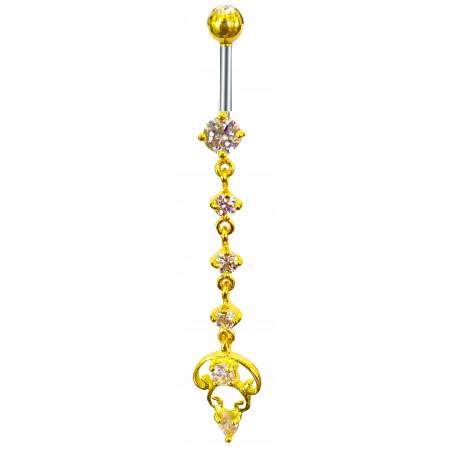 Piercing nombril long pendentif plaqué or