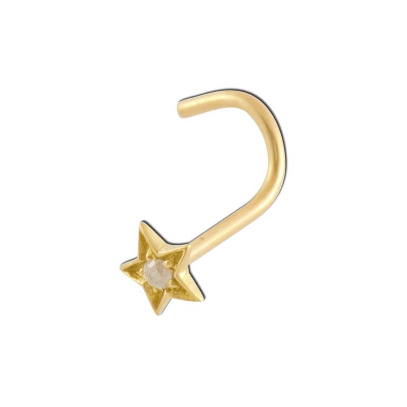 Piercing nez étoile diamant et or