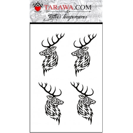 Tatouage éphémère cerf tribal