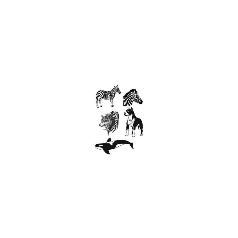 Tattoo autocollant Zebre Loup Chien