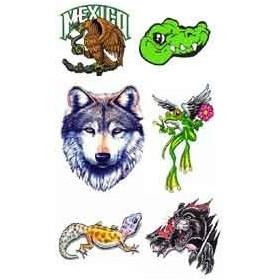 Tattoo autocollant Mexico Loup Grenouille Lezard Tigre