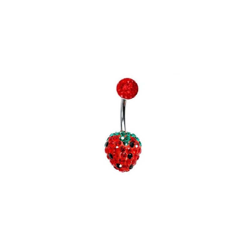 Piercing nombril fraise cristal