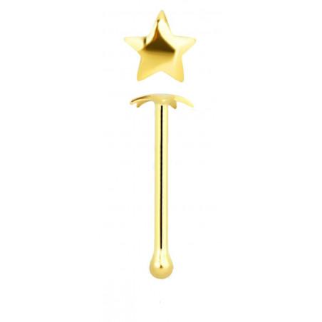 Stud nez étoile or 14 carats