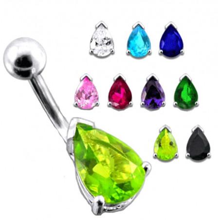 Piercing nombril argent goutte cristal