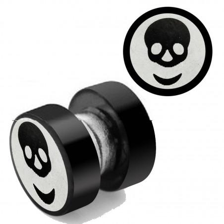 Faux plug magnétique skull acier noir