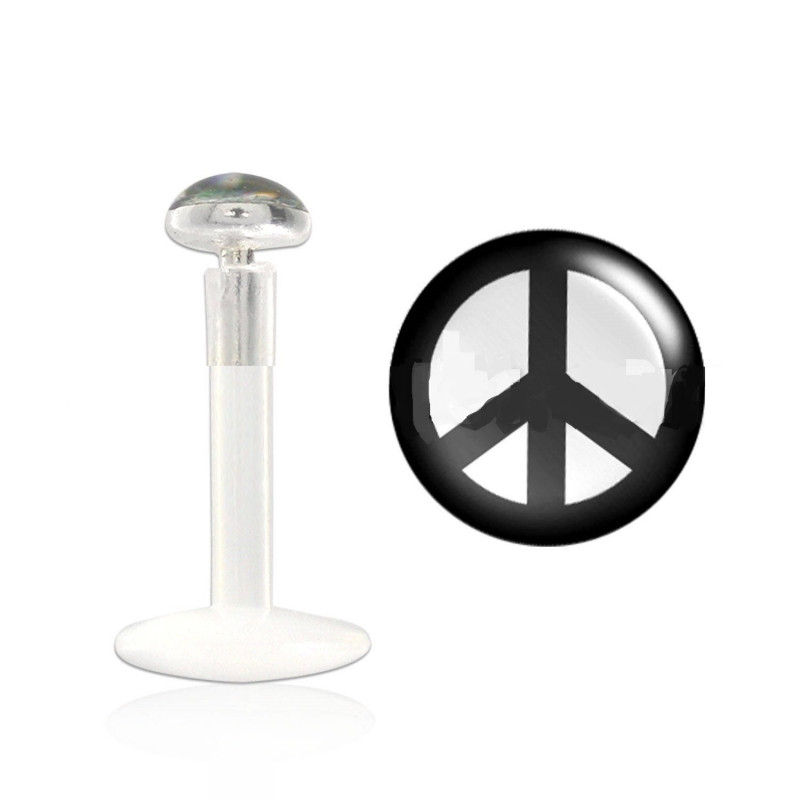 Percing labret peace and love bioflex