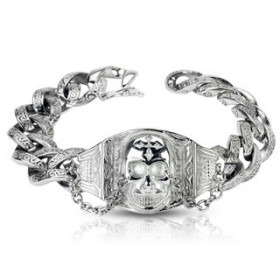 Bracelet chaine gothique tête de mort