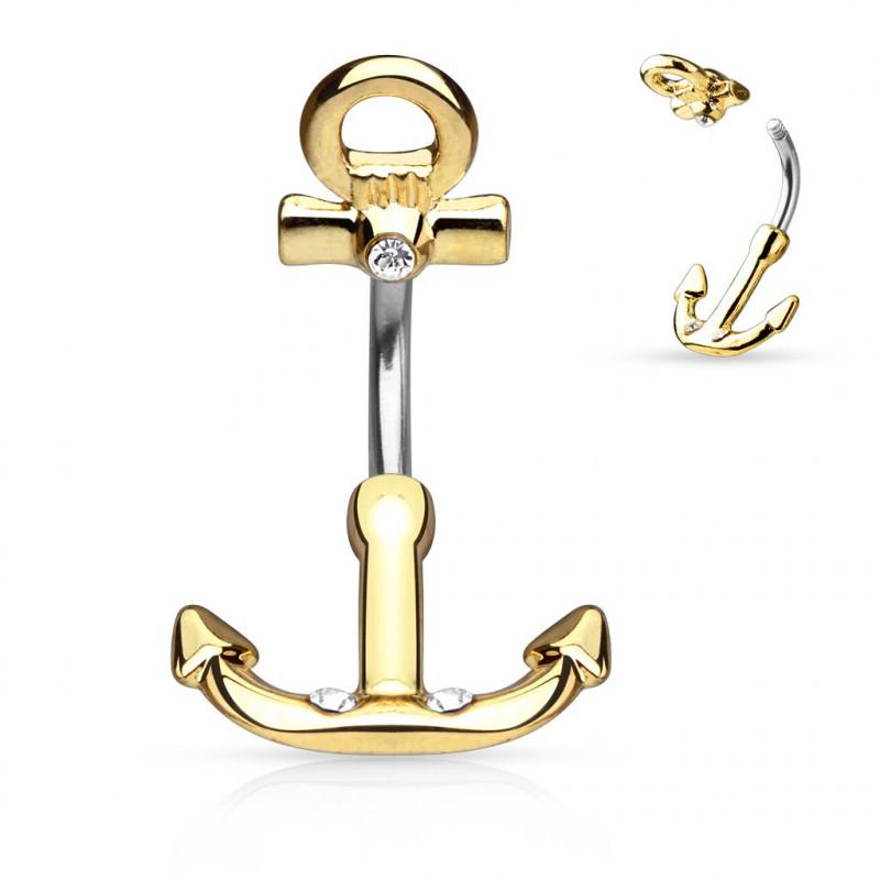 Piercing nombril ancre marine doré