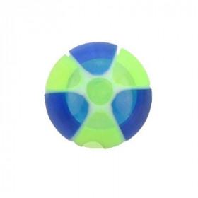 Faux piercing langue boule vert et bleu